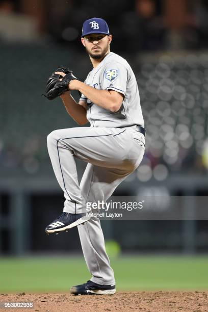 Jacob Faria of the Tampa Bay Rays pitches during a baseball game against the Baltimore Orioles at Oriole Park at Camden Yards on April 23 2018 in...