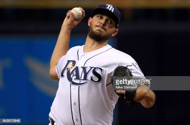 Jacob Faria of the Tampa Bay Rays pitches during a game against the Philadelphia Phillies at Tropicana Field on April 13 2018 in St Petersburg Florida