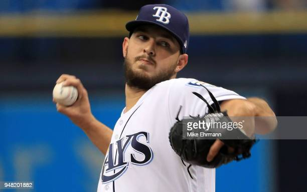 Jacob Faria of the Tampa Bay Rays pitches during a game against the Texas Rangers at Tropicana Field on April 18 2018 in St Petersburg Florida