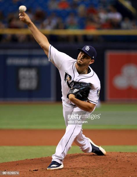 Jacob Faria of the Tampa Bay Rays pitches during a game against the Boston Red Sox at Tropicana Field on May 22 2018 in St Petersburg Florida