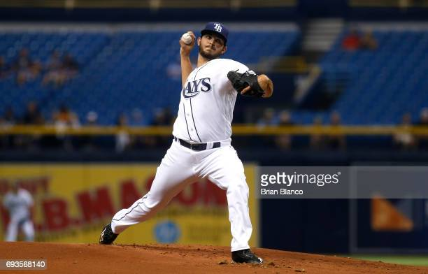 Jacob Faria of the Tampa Bay Rays pitches during the first inning of a game against the Chicago White Sox on June 7 2017 at Tropicana Field in St...