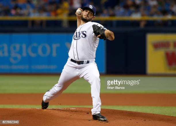 Jacob Faria of the Tampa Bay Rays pitches during the first inning of a game against the Baltimore Orioles on July 25 2017 at Tropicana Field in St...