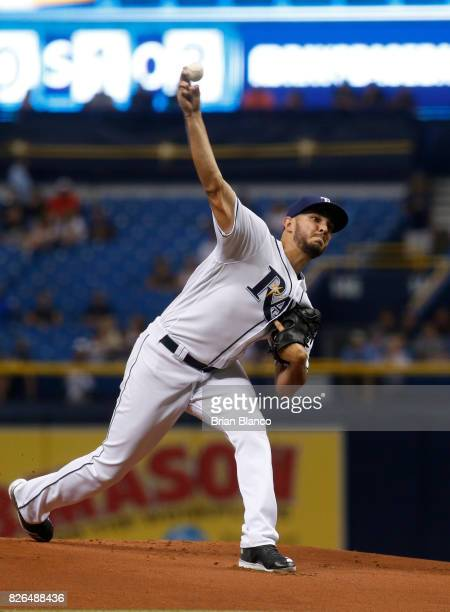 Jacob Faria of the Tampa Bay Rays pitches during the first inning of a game against the Milwaukee Brewers on August 4 2017 at Tropicana Field in St...