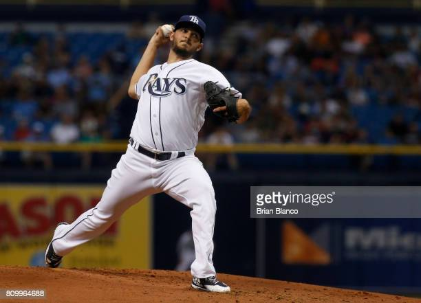 Jacob Faria of the Tampa Bay Rays pitches during the second inning of a game against the Boston Red Sox on July 6 2017 at Tropicana Field in St...