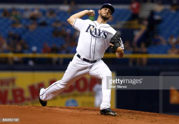 Jacob Faria of the Tampa Bay Rays pitches during the second inning of a game against the Cleveland Indians on August 11 2017 at Tropicana Field in St...
