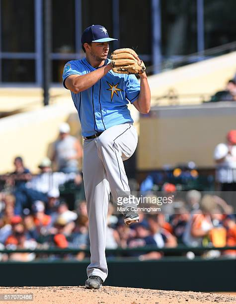 Jacob Faria of the Tampa Bay Rays pitches during the Spring Training game against the Detroit Tigers at Joker Marchant Stadium on March 8 2016 in...