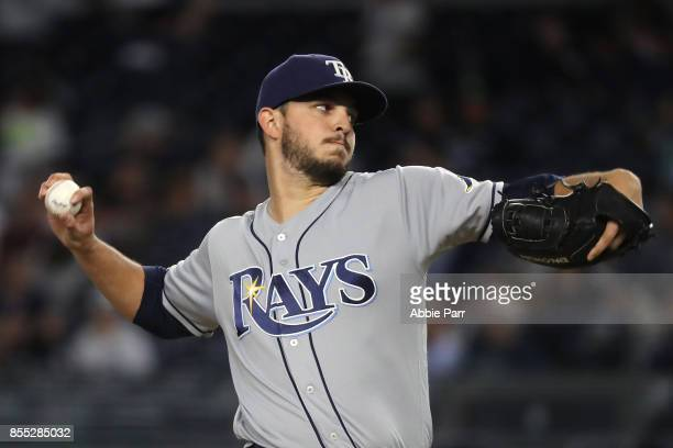 Jacob Faria of the Tampa Bay Rays pitches in the first inning against the New York Yankees at Yankee Stadium on September 28 2017 in the Bronx...