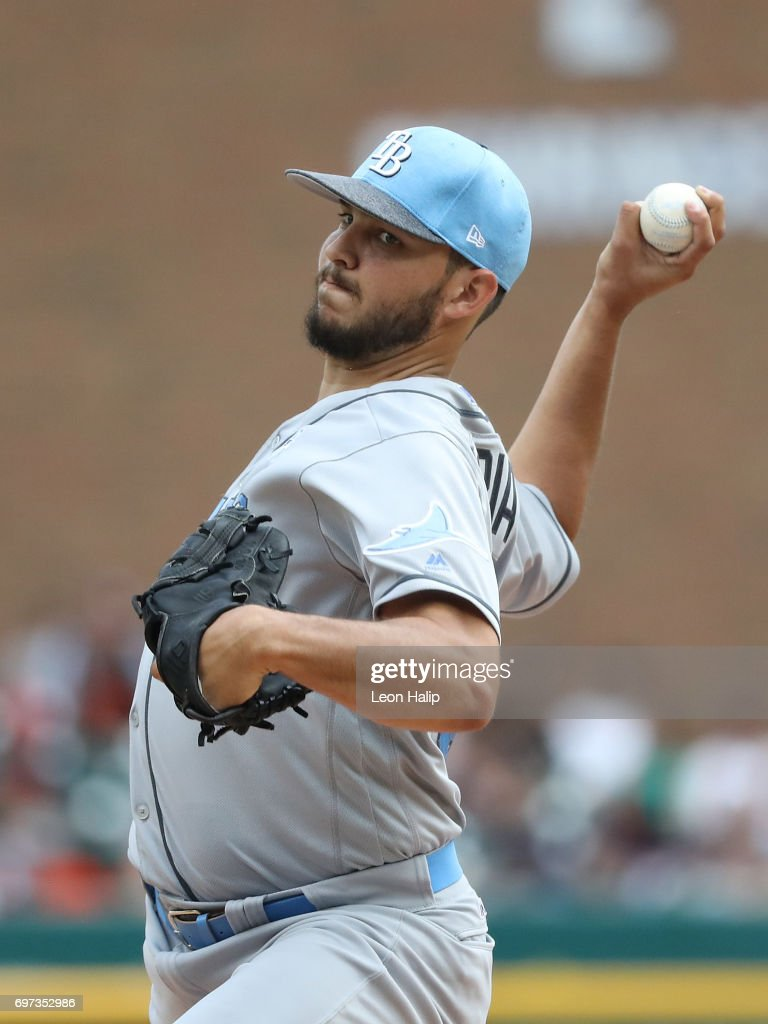 Jacob Faria #34 of the Tampa Bay Rays pitches in the fourth inning of the game against the Detroit Tigers on June 18, 2017 at Comerica Park in Detroit, Michigan.