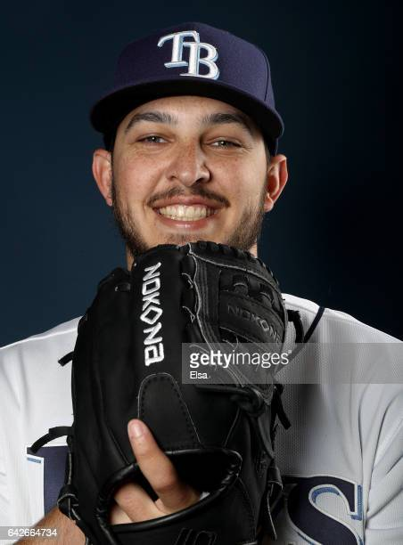 Jacob Faria of the Tampa Bay Rays poses for a portrait during the Tampa Bay Rays photo day on February 18 2017 at Charlotte Sports Park in Port...