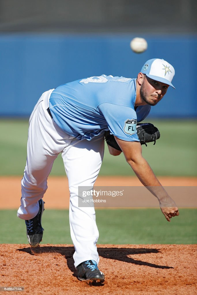 Jacob Faria #34 of the Tampa Bay Rays throws a warm up pitch before the ninth inning of a Grapefruit League spring training game against the Philadelphia Phillies at Charlotte Sports Park on March 1, 2017 in Port Charlotte, Florida. The game ended in a 5-5 tie.