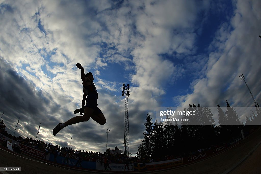 Jacob Fincham-Dukes of Great Britain competes during the Men's Long Jump final at Ekangen Arena on July 17, 2015 in Eskilstuna, Sweden.