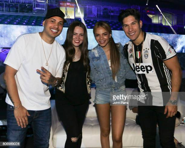 Jacob Forever Joy Leslie Grace and Chino Miranda are seen during rehearsals at Univision's 'Premios Juventud' 2017 Celebrates The Hottest Musical...