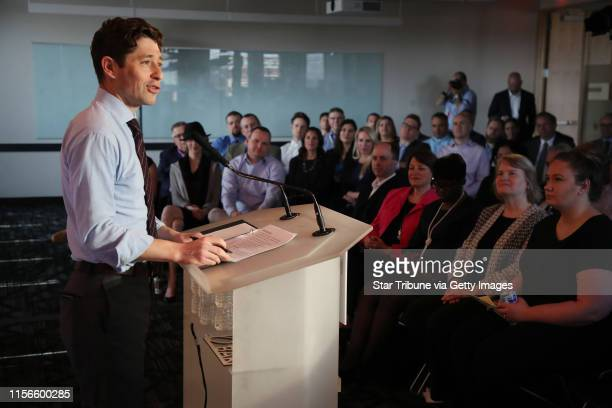 Jacob Frey Mayor of Minneapolis spoke during a press conference at Amazon North Loop tech office Wednesday May 2 2018 ] JERRY HOLT •...
