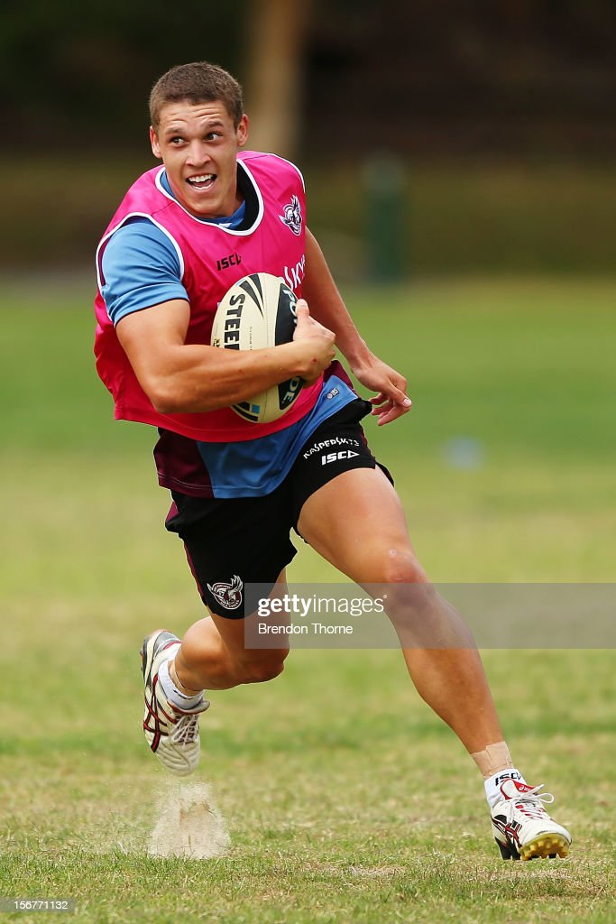 Jacob Gagan of the Sea Eagles runs the ball during a Manly Sea Eagles NRL pre-season training session at Sydney Academy of Sport on November 21, 2012 in Sydney, Australia.