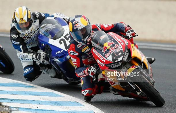 Jacob Gagne of the United States and Red Bull Honda World Superbike Team rides in the FIM Superbike World Championship Free Practice session ahead of...
