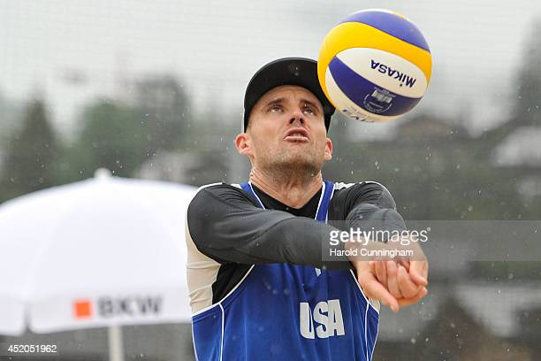 Jacob Gibb of USA sets during the men main draw match AlisonBruno v GibbPatterson as part of the fourth day of the FIVB Gstaad Grand Slam on July 11...