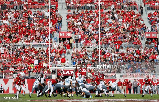 Jacob Godek of the Citadel Bulldogs kicks a gametying field goal to end the first half against the Alabama Crimson Tide at BryantDenny Stadium on...