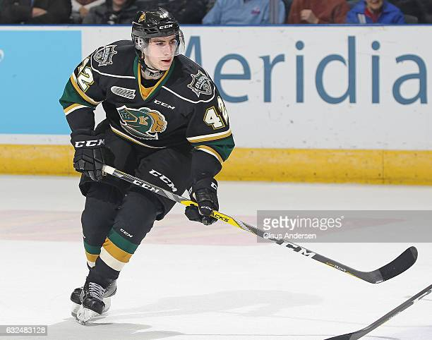 Jacob Golden of the London Knights skates against the Niagara IceDogs during an OHL game at Budweiser Gardens on January 22 2017 in London Ontario...