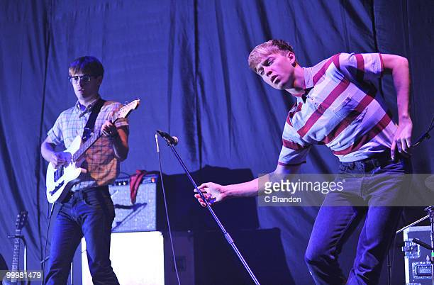 Jacob Graham and Jonathan Pierce of The Drums performs on stage at Hammersmith Apollo on May 14, 2010 in London, England.
