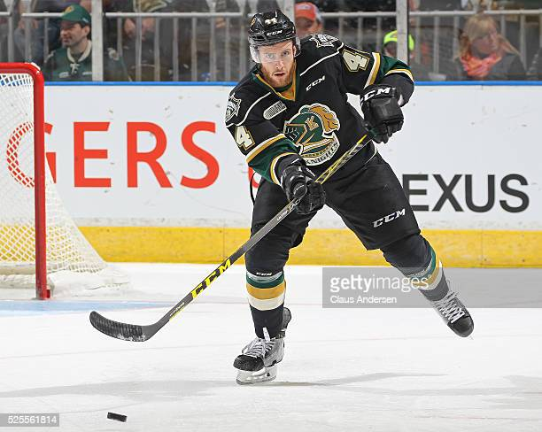 Jacob Graves of the London Knights heads the puck up ice against the Erie Otters during game four of the OHL Western Conference Final on April 27...