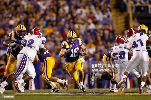 Jacob Hester of the Louisiana State University Tigers makes a run against the Louisiana Tech Bulldogs on November 11 2007 at Tiger Stadium in Baton...
