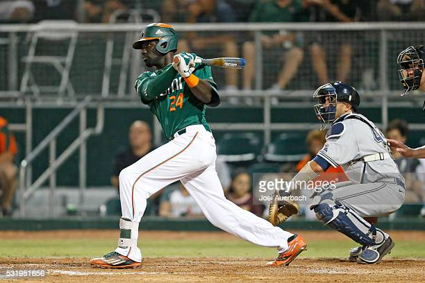 Jacob Heyward of the Miami Hurricanes hits the ball against the Pittsburgh Panthers on May 14 2016 at Alex Rodriguez Park at Mark Light Field in...