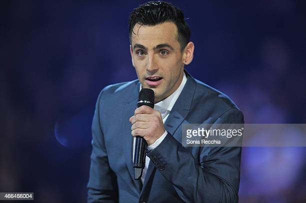 Jacob Hoggard of Hedley hosts the 2015 JUNO Awards at FirstOntario Centre on March 15 2015 in Hamilton Canada