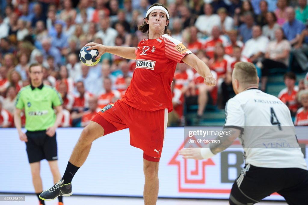 Jacob Holm of Denmark in action during the European Championship Croatia 2018 Playoff match between Denmark and Latvia at Sydbank Arena on June 18, 2017 in Kolding, Denmark.