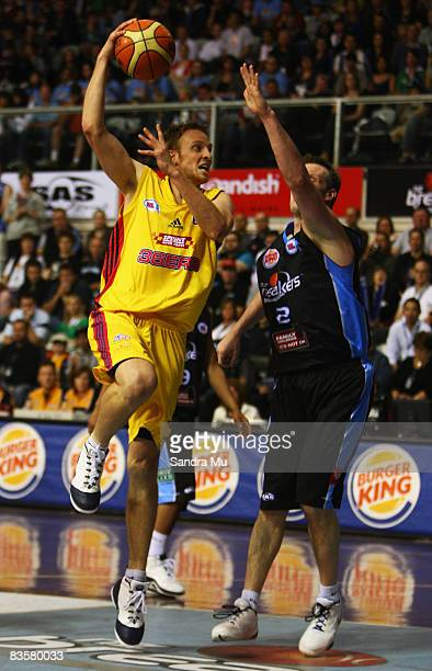 Jacob Holmes of Adelaide passes during the round eight NBL match between the New Zealand Breakers and the Adelaide 36ers at North Shore Events Centre...