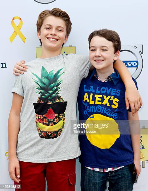 Jacob Hopkins and Benjamin Stockham attend the 5th annual 'LA Loves Alex's Lemonade' annual fundraiser at Wilson Plaza UCLA on September 20 2014 in...