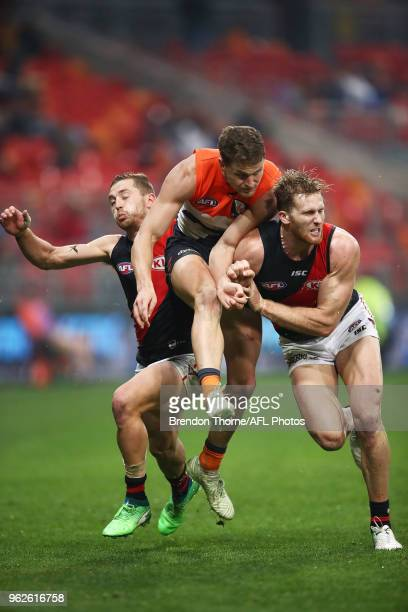 Jacob Hopper of the Giants kicks during the round 10 AFL match between the Greater Western Sydney Giants and the Essendon Bombers at Spotless Stadium...