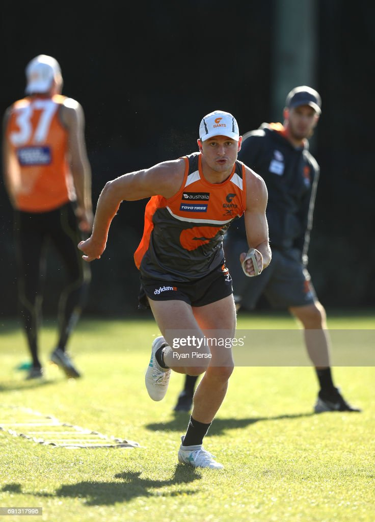 Jacob Hopper of the Giants trains during a Greater Western Sydney Giants AFL training session at Sydney Olympic Park on June 2, 2017 in Sydney, Australia.
