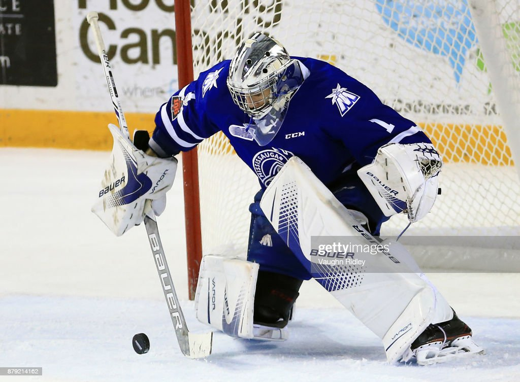Jacob Ingham #1 of the Mississauga Steelheads makes a save during the second period of an OHL game against the Niagara IceDogs at the Meridian Centre on November 25, 2017 in St Catharines, Ontario, Canada.