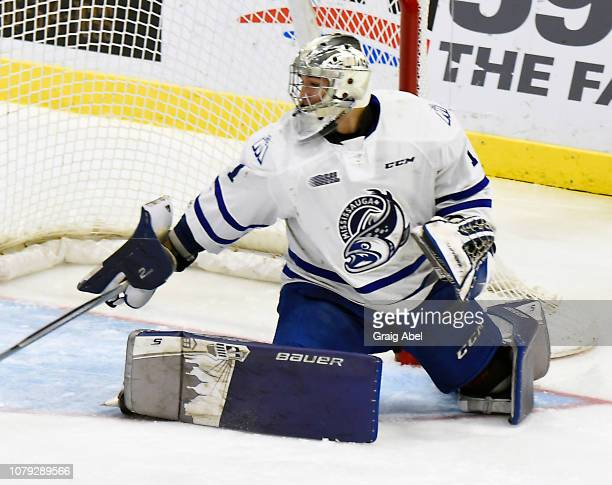 Jacob Ingham of the Mississauga Steelheads stops a shot against the Oshawa Generals during OHL game action on December 7, 2018 at Paramount Fine...