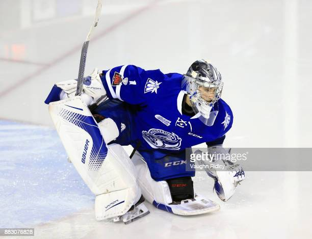 Jacob Ingham of the Mississauga Steelheads stretches during an OHL game against the Niagara IceDogs at the Meridian Centre on November 25 2017 in St...