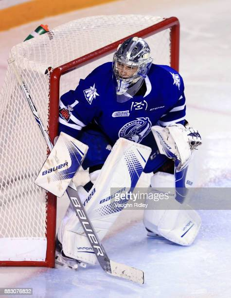 Jacob Ingham of the Mississauga Steelheads watches the puck during an OHL game against the Niagara IceDogs at the Meridian Centre on November 25 2017...