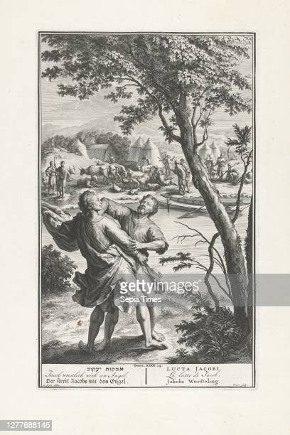 Jacob is struggling with the angel. In the background the river Jabbok and Jacob's fellow travelers . The print has a Hebrew, Latin, French, English,...