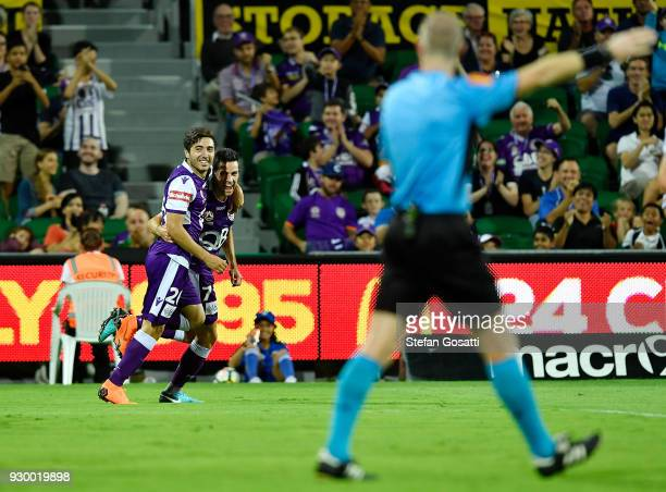 Jacob Italiano congratulates Joel Chianese of the Glory after he scored during the round 22 ALeague match between the Perth Glory and the Central...