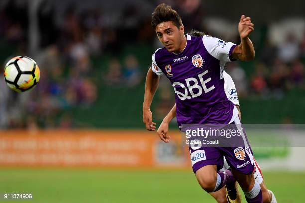 Jacob Italiano of the Glory competes for the ball during the round 18 ALeague match between the Perth Glory and the Western Sydney Wanderers at nib...