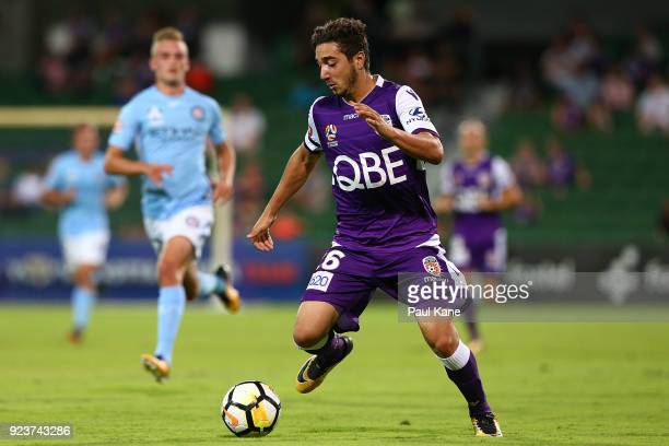 Jacob Italiano of the Glory controls the ball during the round 21 ALeague match between the Perth Glory and Melbourne City FC at nib Stadium on...