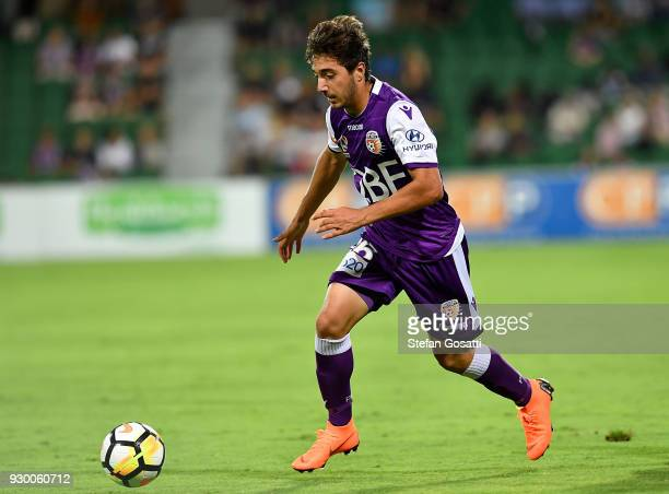Jacob Italiano of the Glory runs the ball during the round 22 ALeague match between the Perth Glory and the Central Coast Mariners at nib Stadium on...