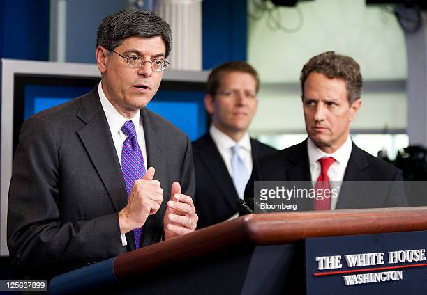 """Jacob """"Jack"""" Lew, director of the Office of Management and Budget , left, speaks during the daily media briefing at the White House as Timothy F...."""