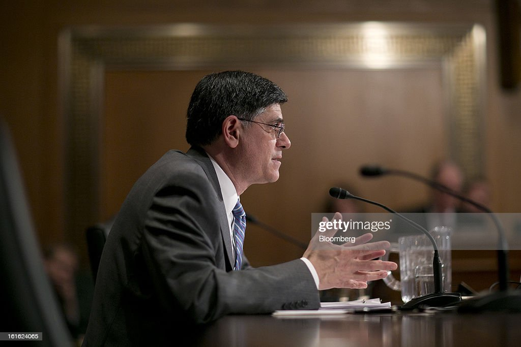 Jacob 'Jack' Lew, U.S. treasury secretary nominee and former White House chief of staff, speaks during a Senate Finance Committee hearing in Washington, D.C., U.S., on Wednesday, Feb. 12, 2013. Lew emphasized his ability to work across party lines as he tried to win over Republican senators who were focusing on his work at Citigroup Inc. and an investment in the Cayman Islands. Photographer: Andrew Harrer/Bloomberg via Getty Images