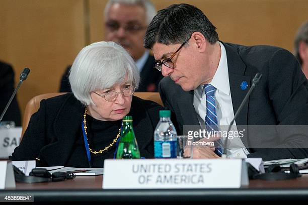"""Jacob """"Jack"""" Lew, U.S. Treasury secretary, right, talks to Janet Yellen, chair of the U.S. Federal Reserve, during a Group-of-20 ministerial meeting..."""