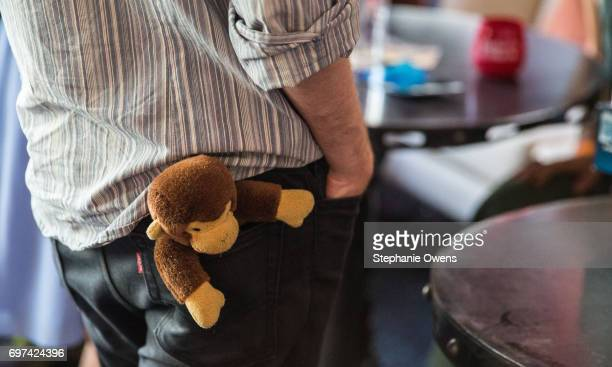 Jacob Kafka Lead Animator Monkey Business and his childhood stuffed Curious George attend the Women Filmmakers Event during 2017 Los Angeles Film...