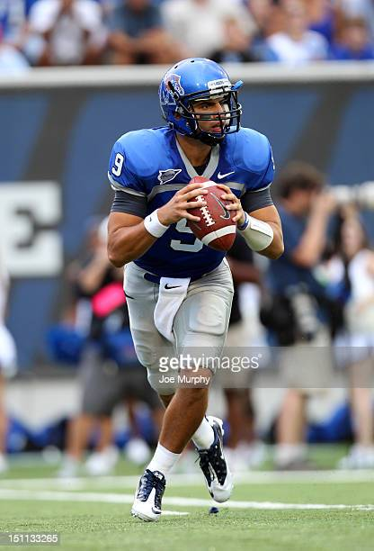 Jacob Karam of the Memphis Tigers looks to throw the ball downfield against the Tennessee Martin Skyhawks on September 1, 2012 at Liberty Bowl...