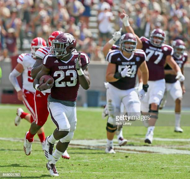 Jacob Kibodi of the Texas A&M Aggies rushes for a 67 yard touchdown in the fourth quarter against the Louisiana-Lafayette Ragin Cajuns at Kyle Field...