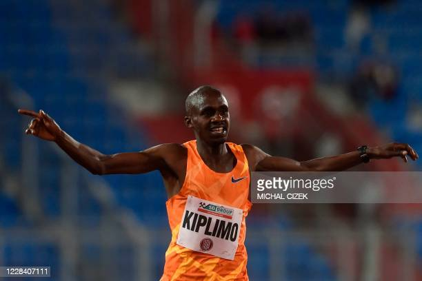Jacob Kiplimo of Uganda celebrates after winning the Men's 5000m of IAAF Golden Spike 2020 Athletics meeting in Ostrava, Czech Republic, on September...