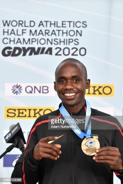 Jacob Kiplimo of Uganda celebrates after winning the Men's Final Race during the World Athletics Half Marathon Championships on October 17, 2020 in...