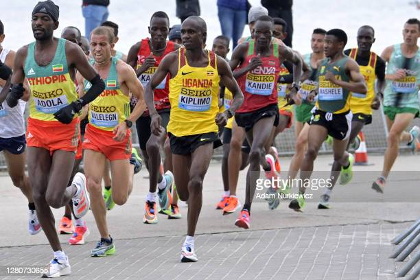 Jacob Kiplimo of Uganda competes in the Men's Final Race during the World Athletics Half Marathon Championships on October 17, 2020 in Gdynia, Poland.
